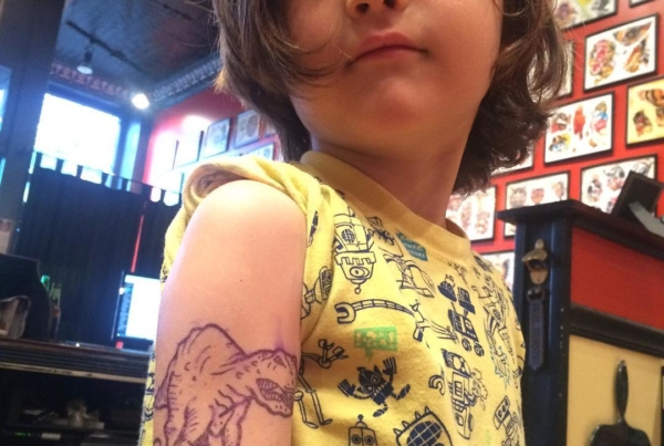 @morgankhalil 's kid got his first tattoo today by @evilerik138