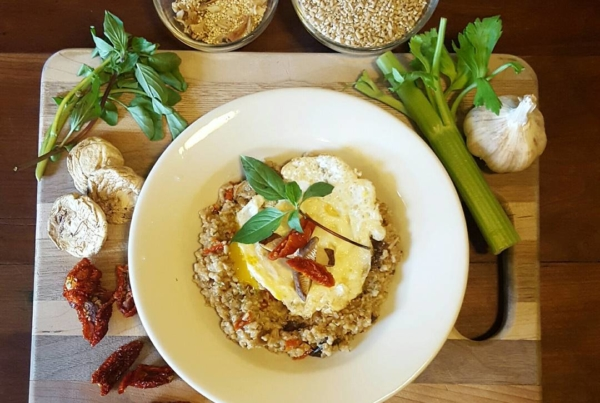 Fun fact: I LOVE to cook.  Todays lunch: Shitake & Sun-dried tomato Savory Oats. I made a broth with dried shitake mushrooms, sun dried tomatoes, basil, celery, garlic, onion and a dash of Bragg's liquid aminos, to cook the steel cut oats and quinoa in. Then through an egg on top! How's that @followyourfork ?