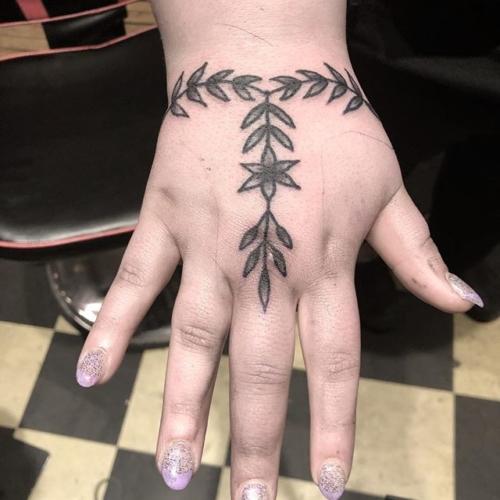 Ornamental floral hand tattoo for Bre 🌱🌿 . . . . #tattoo #blackworktattoo #inkstinct #blackwork #blxckink #btattooing #blkttt #blackworkers #waverlyink #tttism #rochesterny #rochestertattoo #ladytattooer #tattoodo #workhorseirons #steadfast #onlythedarkest #foxtailtattoos #inkwork #linework #whipshaded #tradworkers #boldtattoo #blackworkartists #handtattoo #ornamental #ornamentaltattoo