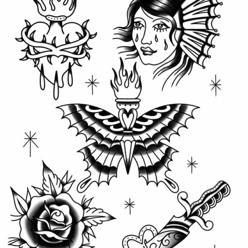 I miss tattooing so much. Here's some flash, available whenever things return to normal. 🖤🖤🖤